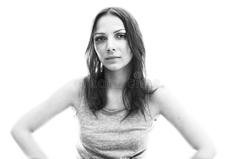 Retrato de BW da jovem mulher foto de stock