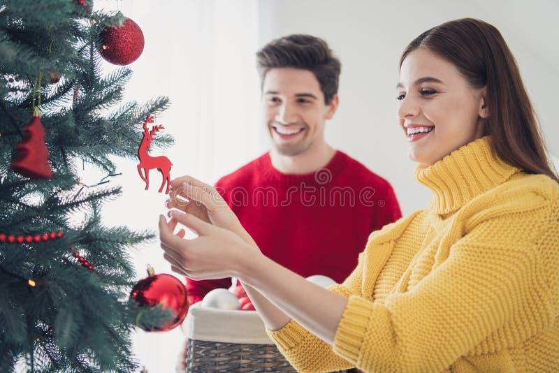 Retrato de cónyuges románticos se sienten positivos decorar el árbol de Navidad colgar baubles preparar la celebración para el imagen de archivo