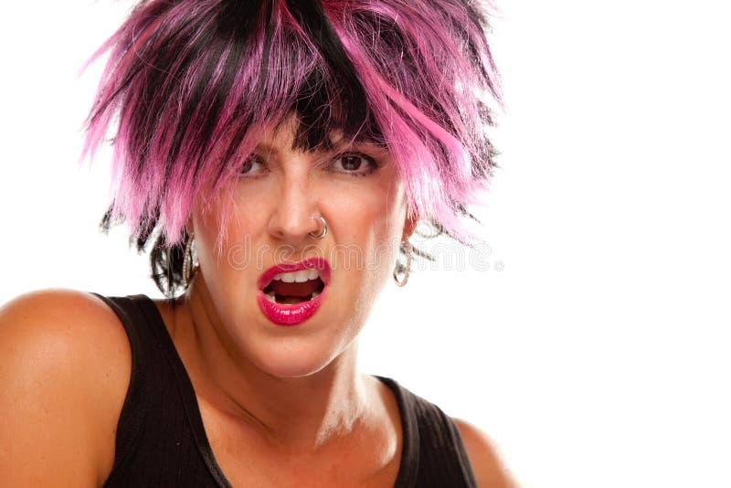 Retrato de cabelo cor-de-rosa e preto Sassy da menina foto de stock royalty free