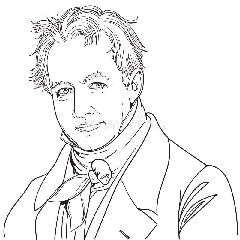 Retrato de caricatura de Alexander von Humboldt ilustración del vector