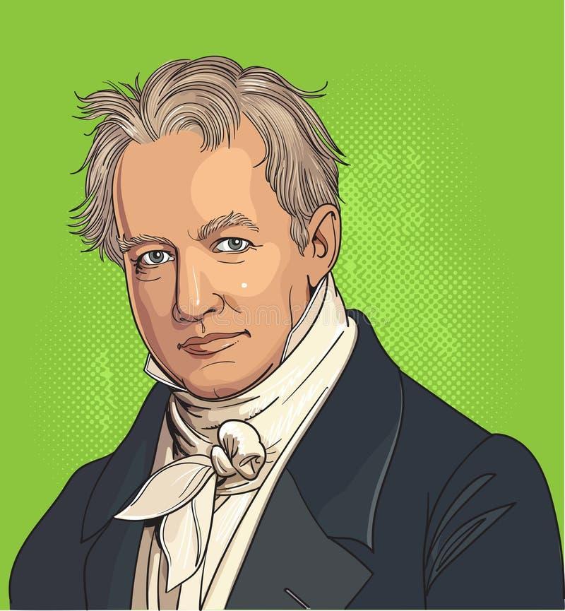 Retrato de caricatura de Alexander von Humboldt stock de ilustración