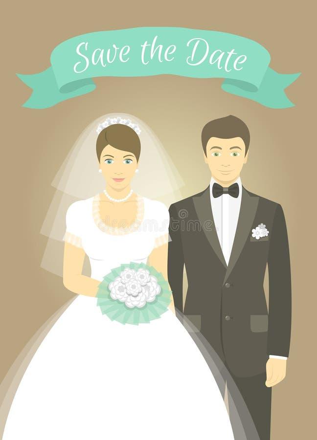 Retrato de casamento da noiva e do noivo ilustração royalty free
