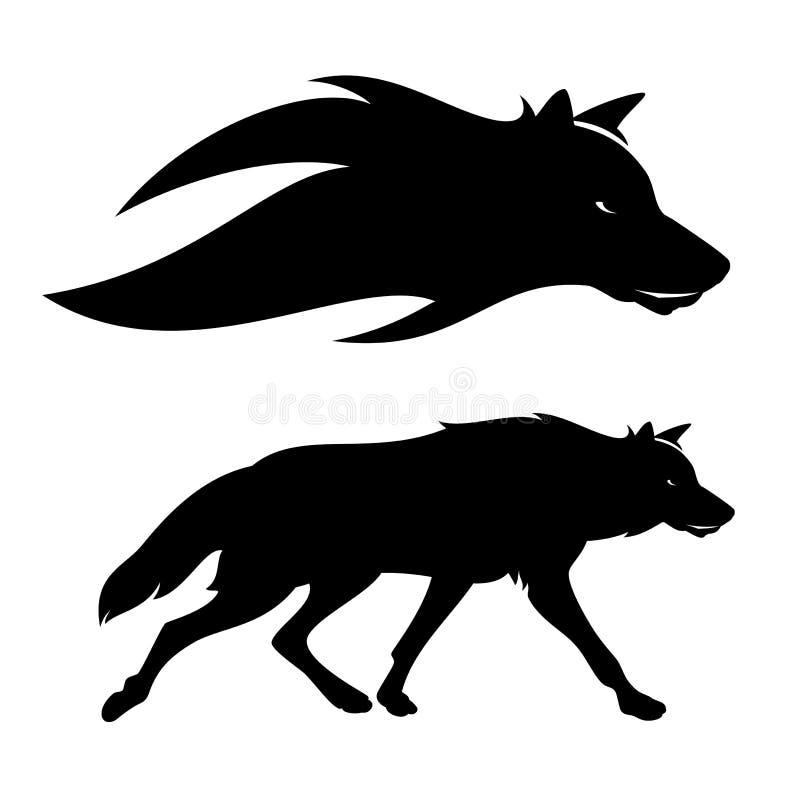 Retrato de corrida da silhueta do vetor do lobo ilustração stock