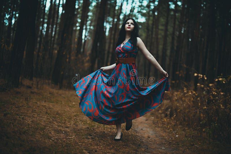 Retrato de cuento de hadas - Imagen de cuento de hadas de una hermosa chica que lleva una capucha roja cerca del bosque fotos de archivo libres de regalías