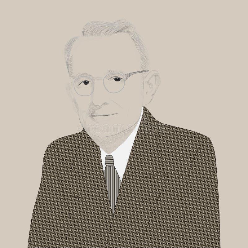 Retrato de Dale Carnegie stock de ilustración