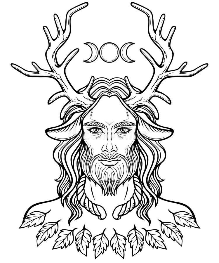 Retrato de deus horned Cernunnos ilustração stock