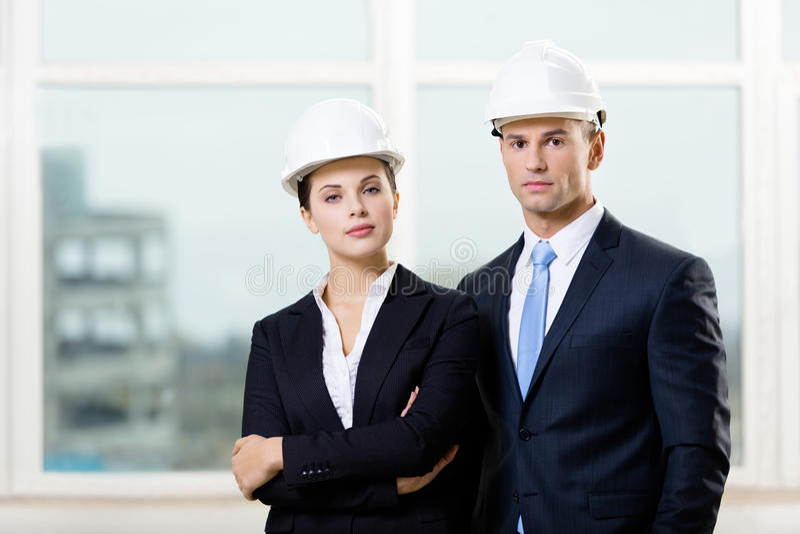 Retrato de dois contratantes fotografia de stock royalty free