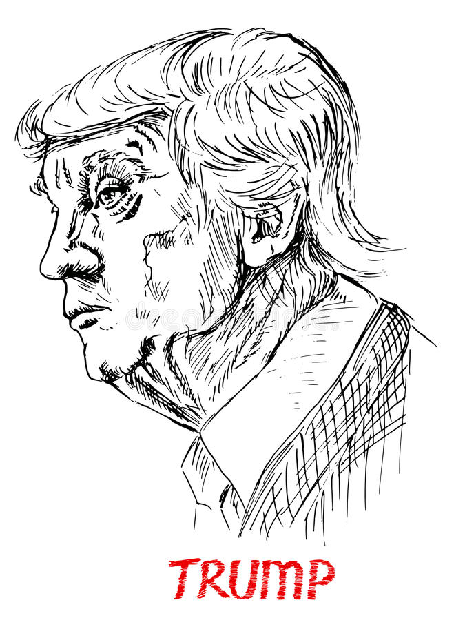 Retrato de Donald Trump ilustração stock