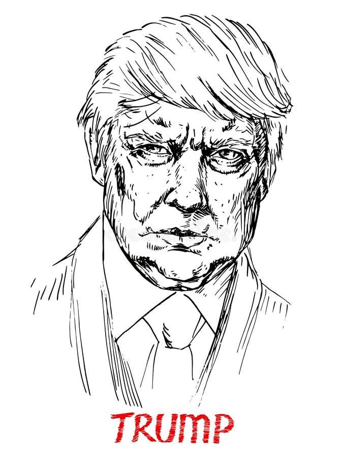Retrato de Donald Trump o presidente de América ilustração do vetor