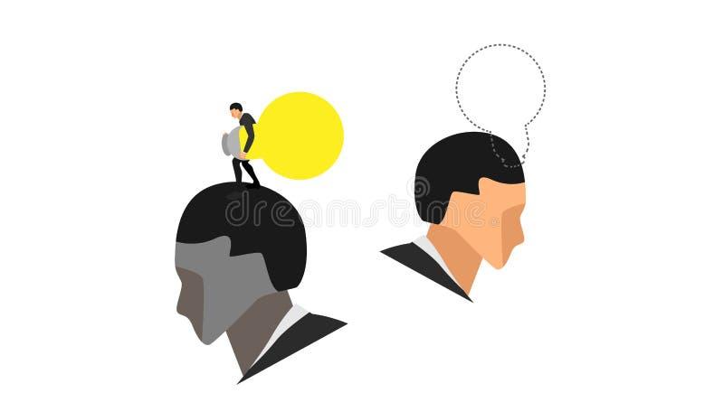 Retrato de dos cabezas masculinas un pequeño carácter roba un bulbo de la luz ámbar sobre la cabeza de otro hombre Los ejemplos c stock de ilustración