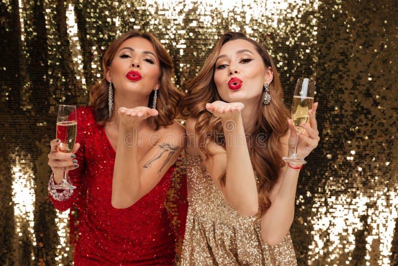 Retrato de dos chicas jóvenes atractivas en vestidos brillantes imagen de archivo libre de regalías