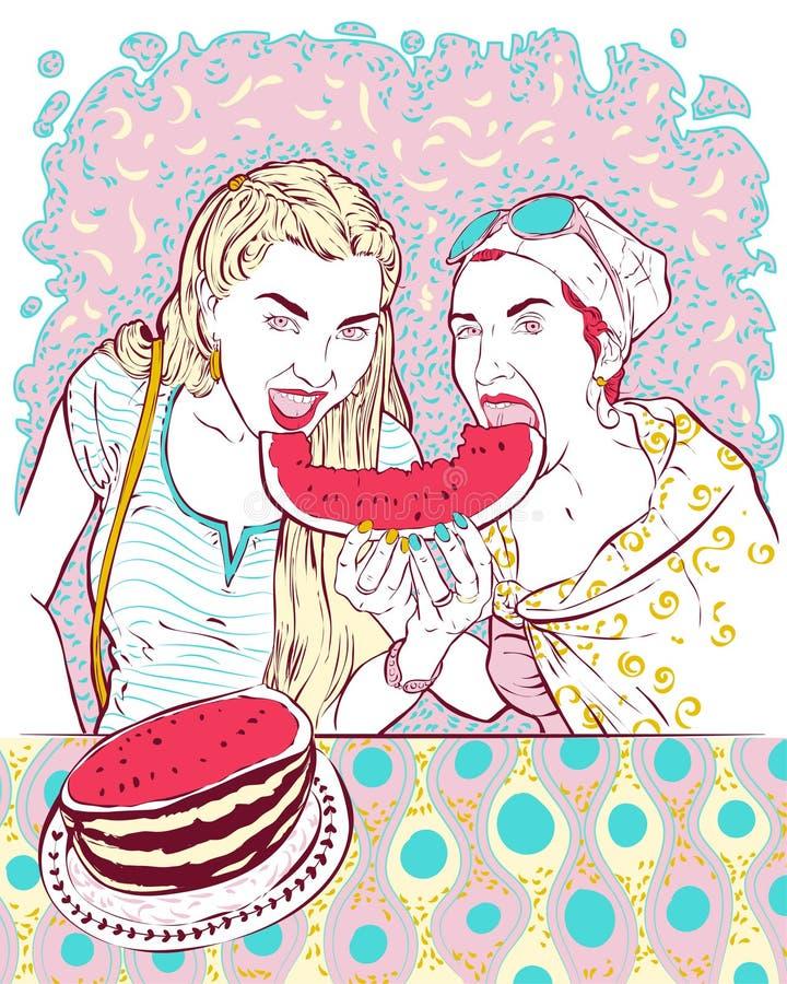 Retrato de dos chicas jóvenes que comen un gran pedazo de sandía jugosa roja ilustración del vector