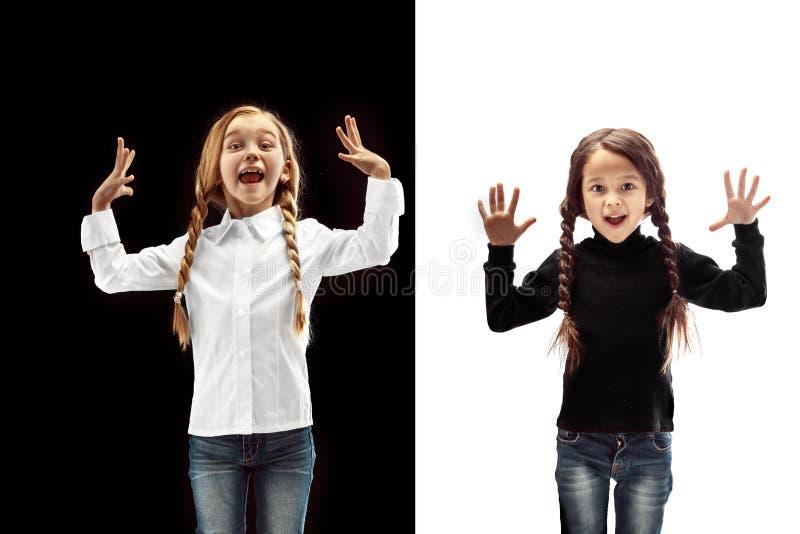 Retrato de dos muchachas felices en un fondo blanco y negro imágenes de archivo libres de regalías