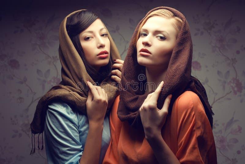 Retrato de dos mujeres jovenes magníficas (moreno y pelirrojo) foto de archivo