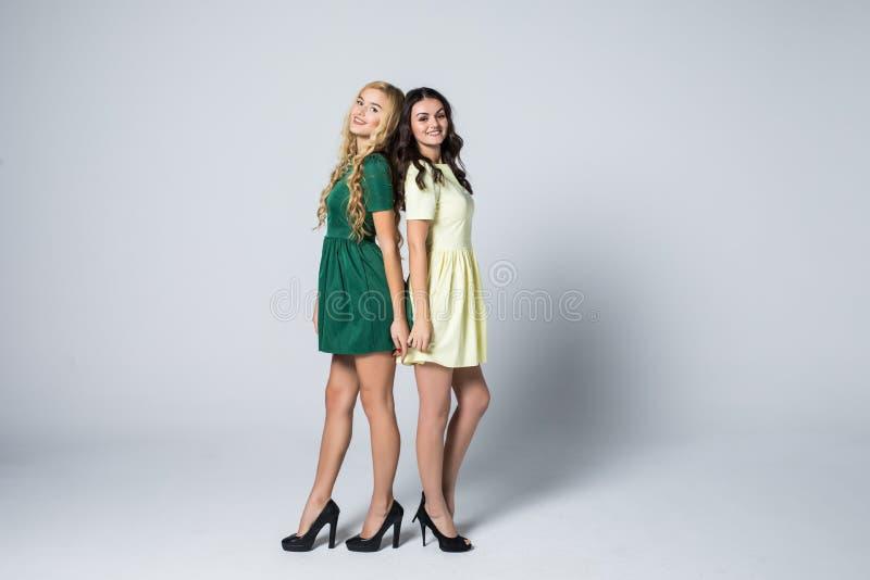 Retrato de duas jovens mulheres louras e morenos atrativas nos vestidos que olham a câmera que levanta no bacgkound branco fotos de stock