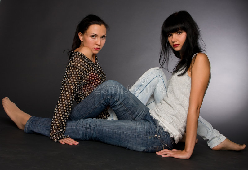 Retrato de duas meninas fotos de stock royalty free