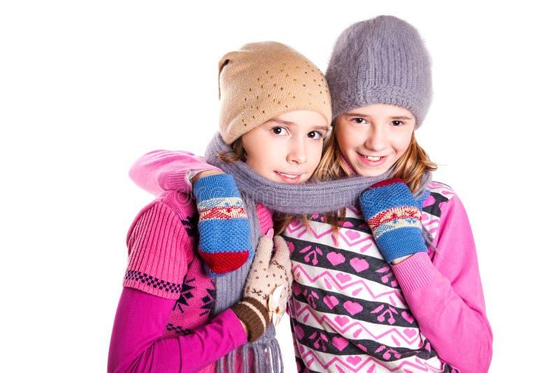 Retrato de duas meninas bonitas novas fotografia de stock