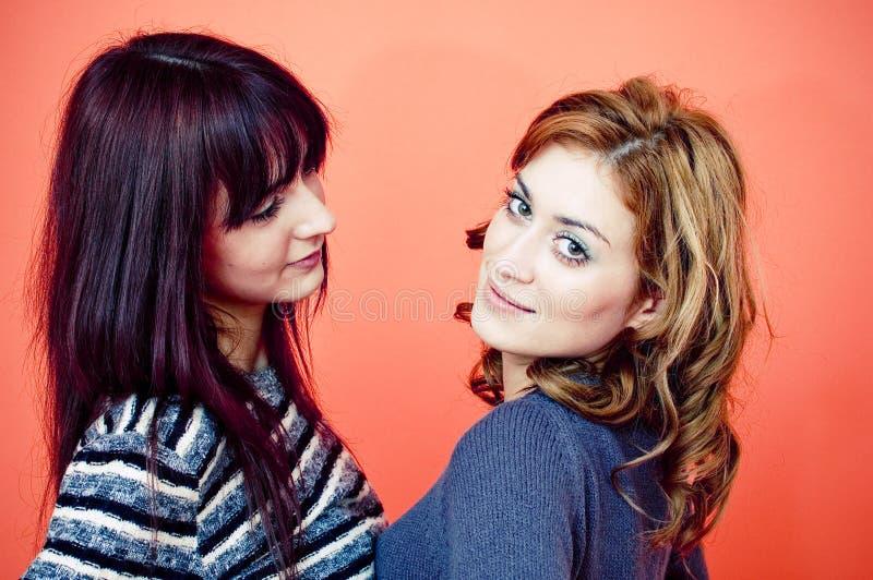 Retrato de duas mulheres novas foto de stock