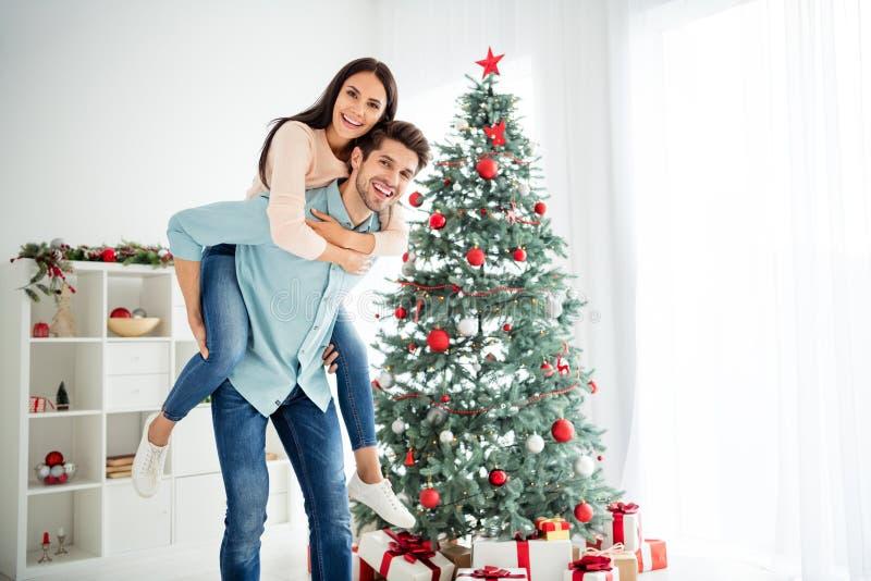 Retrato de duas pessoas alegres casais românticos aproveitando o Natal feriado de Natal em casa com decoração sempre verde imagem de stock royalty free