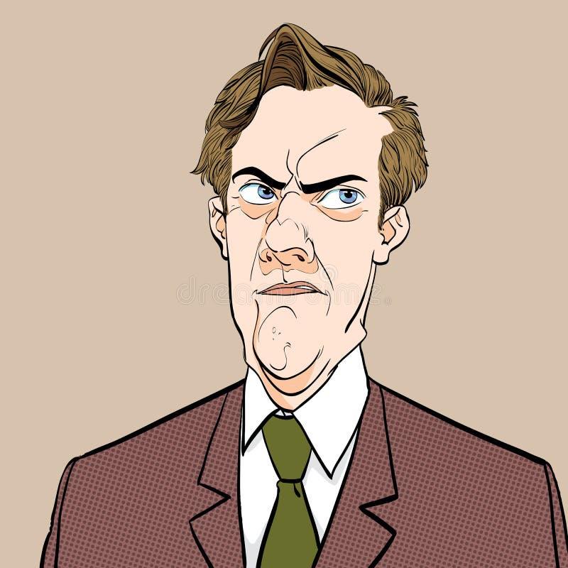 Retrato de dudar al hombre Hombre retro decepcionado Hombre frustrado Ejemplo retro del estilo del arte pop Gente en retro stock de ilustración