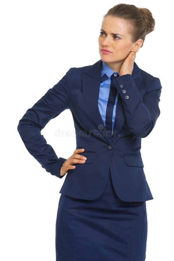 Retrato de duvidar a mulher de negócio fotografia de stock