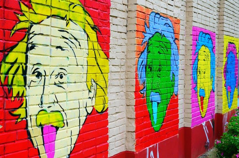 Retrato de Einstein en la pared fotos de archivo libres de regalías