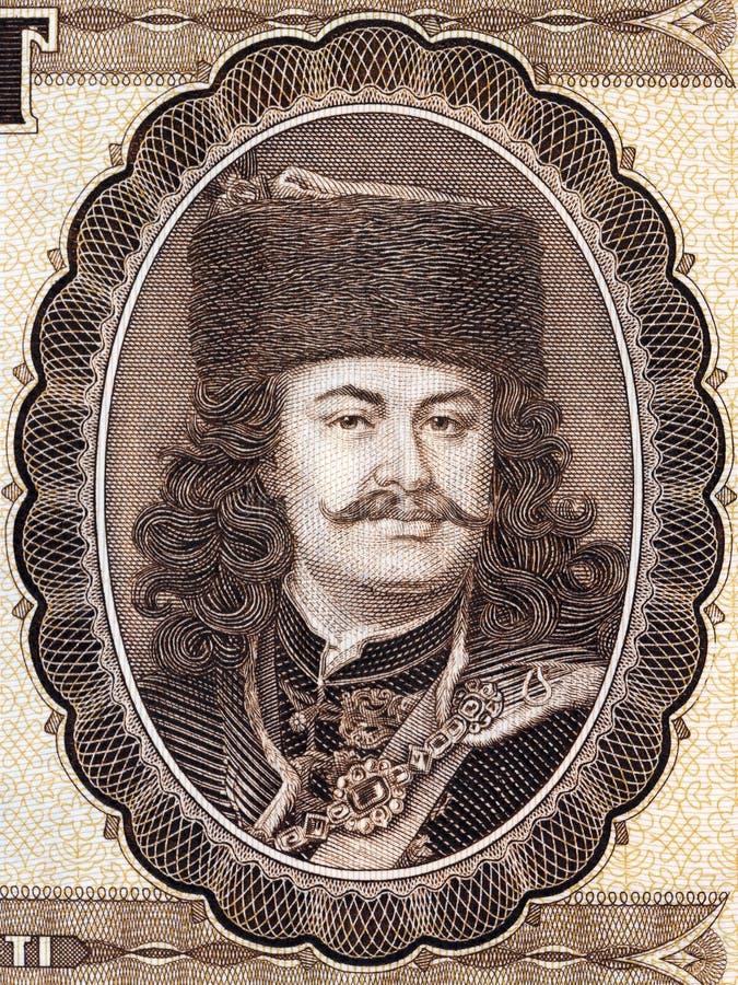 Retrato de Francisco II Rakoczi del dinero húngaro fotos de archivo