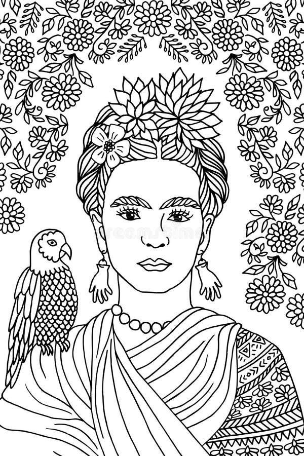 Retrato de Frida Kahlo ilustração stock