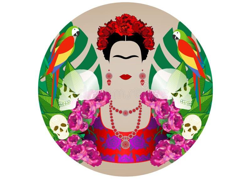 Retrato de Frida Kahlo con los loros y los cráneos Dia De Los Muertos Día de los muertos Fondo floral, diadema del vector aislada libre illustration