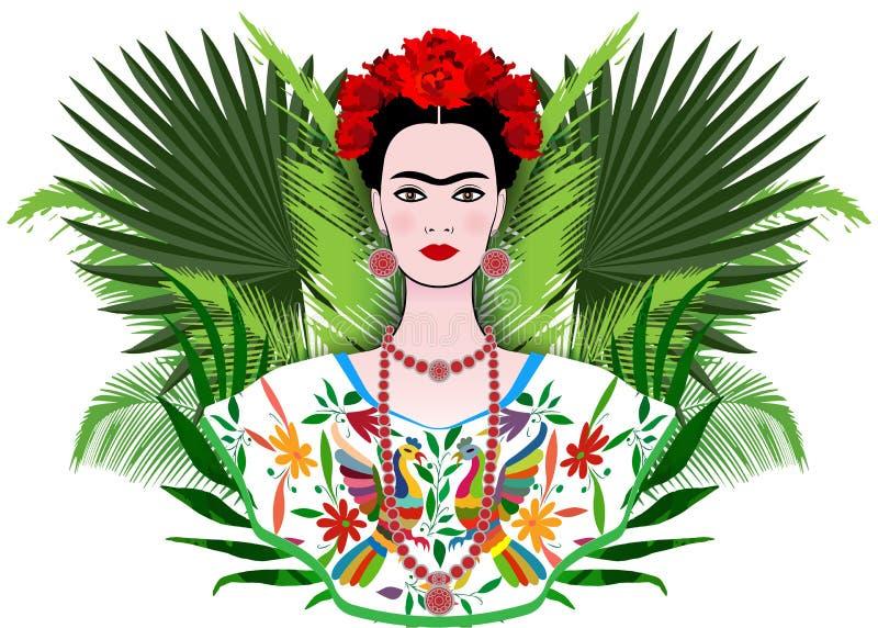Retrato de Frida Kahlo, mujer mexicana con un fondo exótico tradicional del peinado, floral y de las palmas stock de ilustración