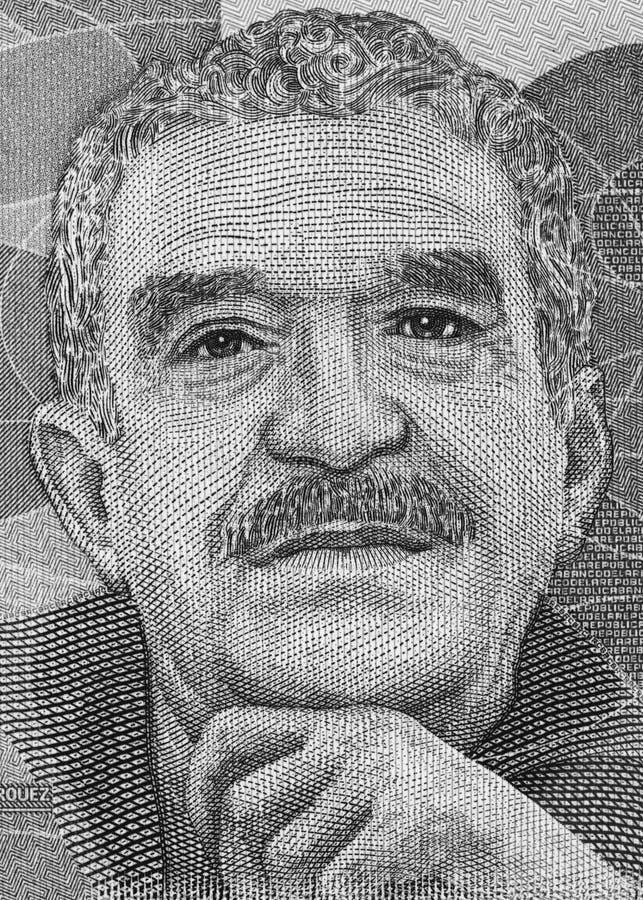 Retrato de Gabriel Garcia Marquez em Colômbia 50000 vagabundos do peso 2016 fotos de stock