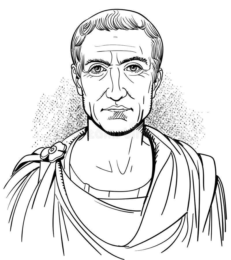 Retrato de Gaius Julius Caesar, vetor ilustração royalty free
