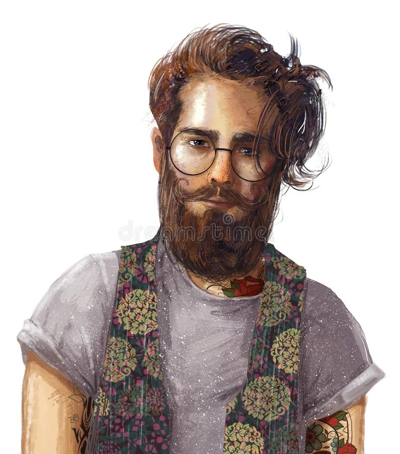 Retrato de hombres hipster con gafas stock de ilustración