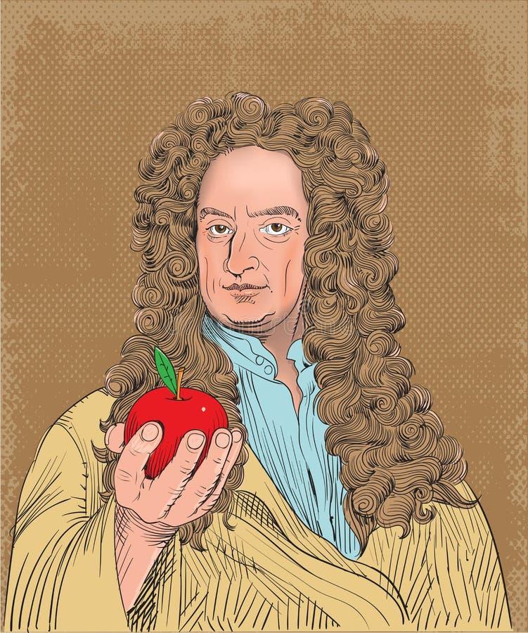 Retrato de Isaac Newton na linha ilustração da arte, vetor ilustração stock