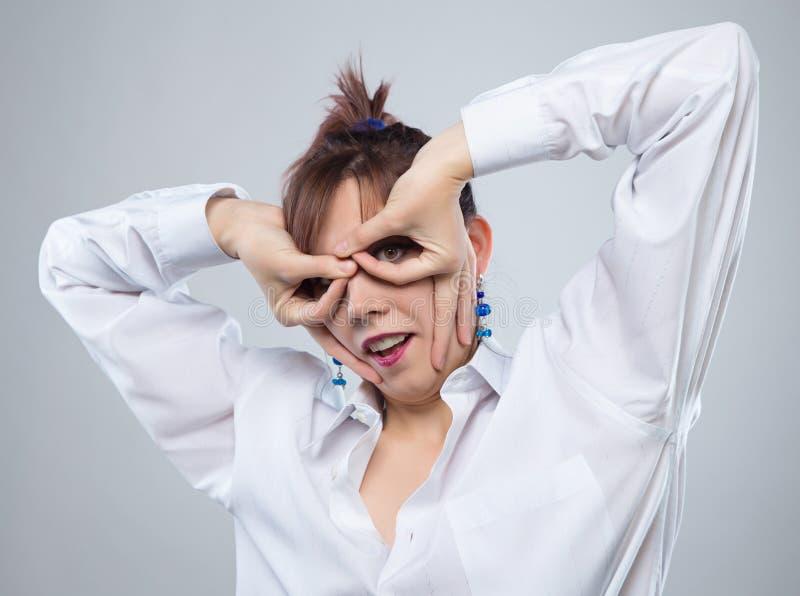 Retrato de jogar a mulher do tolo imagens de stock