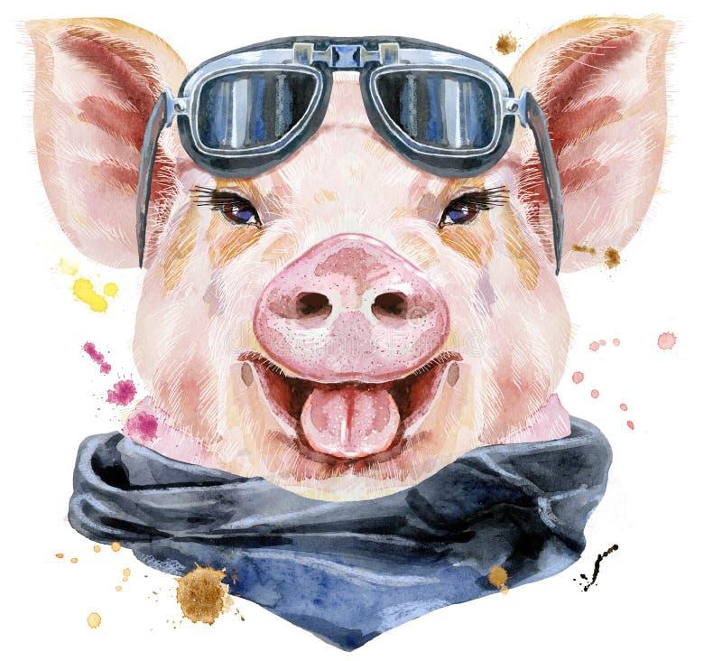 Retrato de la acuarela del cerdo con las gafas de sol del motorista ilustración del vector