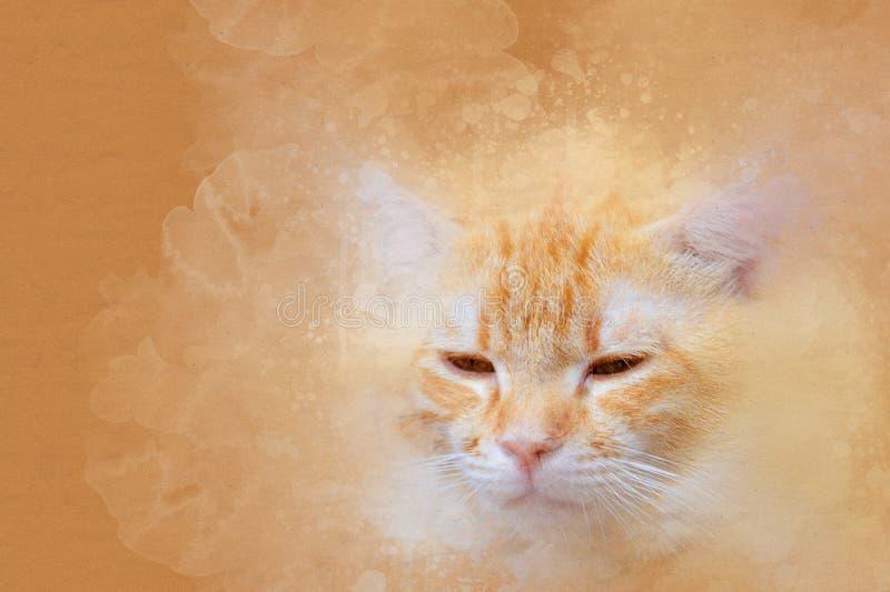 Retrato de la acuarela del gato anaranjado color de la pintura del arte en la lona para el fondo foto de archivo