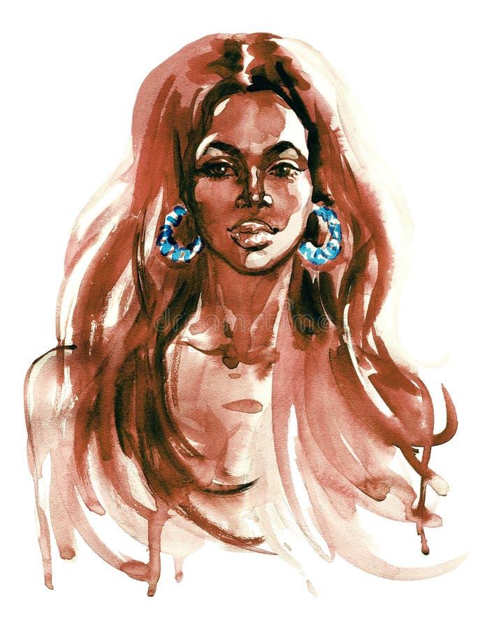 Retrato de la acuarela de la mujer africana latino ilustración del vector