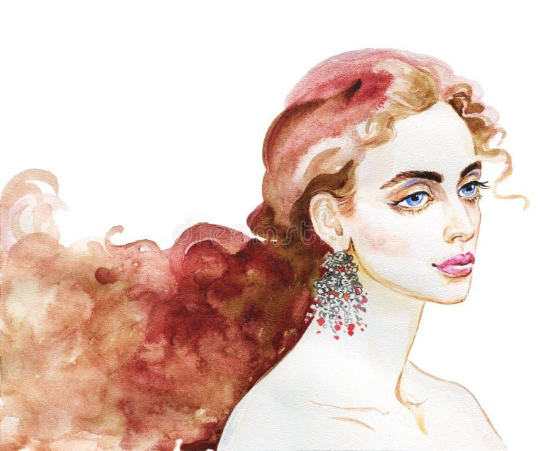 Retrato de la acuarela de la mujer hermosa ilustración del vector