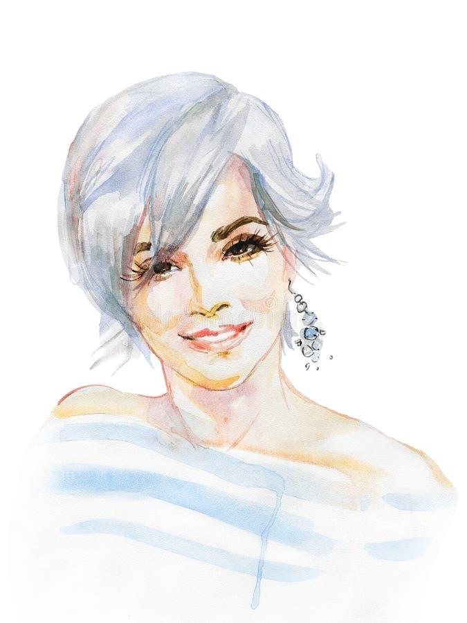 Retrato de la acuarela de la mujer hermosa stock de ilustración