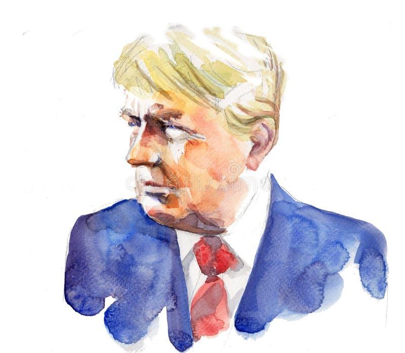 Retrato de la acuarela de presidente Donald Trump de los E.E.U.U. ilustración del vector