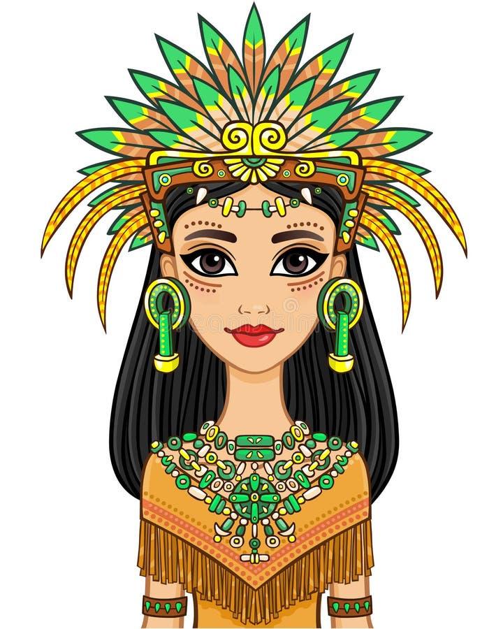 Retrato de la animación de la muchacha hermosa en un vestido del indio del nativo americano libre illustration
