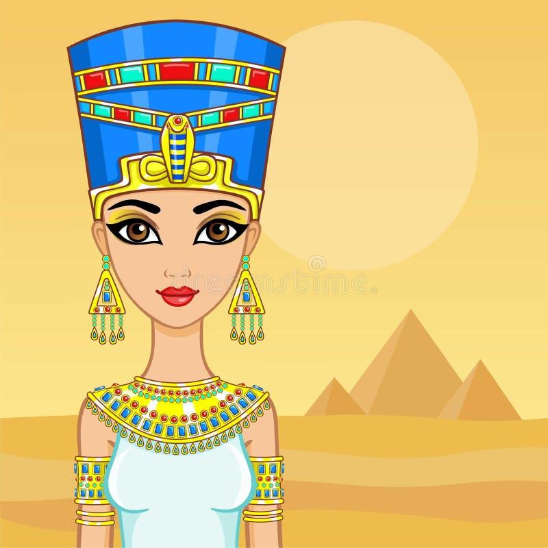 Retrato de la animación de la reina egipcia Un fondo - un paisaje el desierto, pirámides El lugar para el texto stock de ilustración