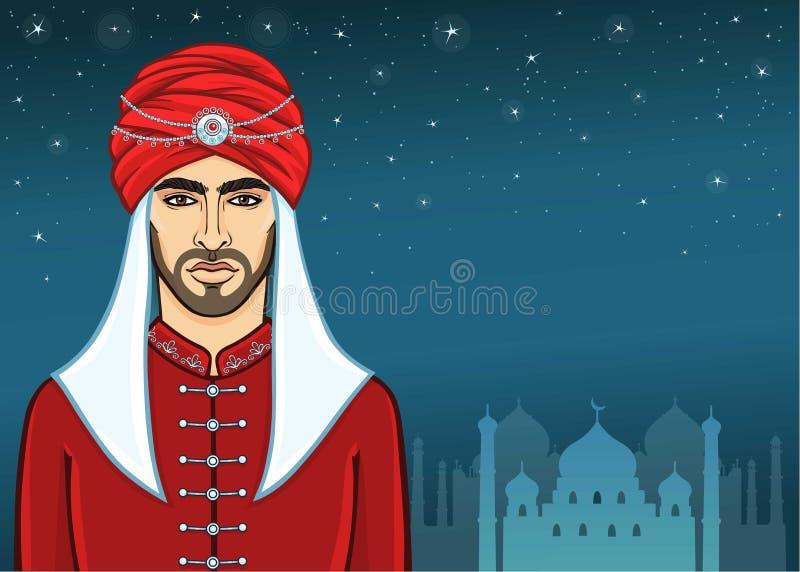 Retrato de la animación del hombre árabe en un turbante