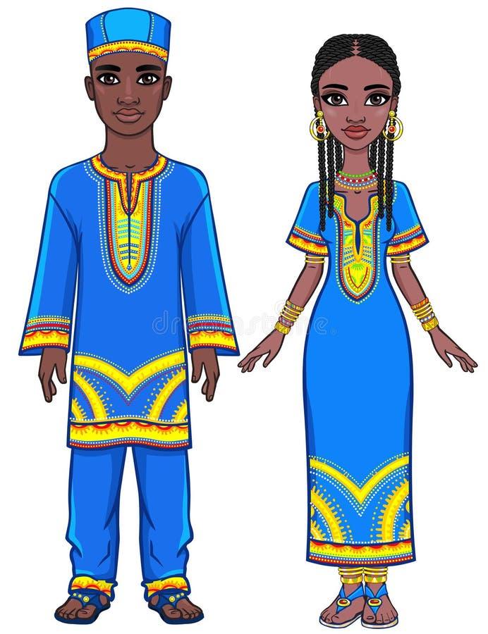 Retrato de la animación de la familia africana en ropa étnica brillante crecimiento completo ilustración del vector
