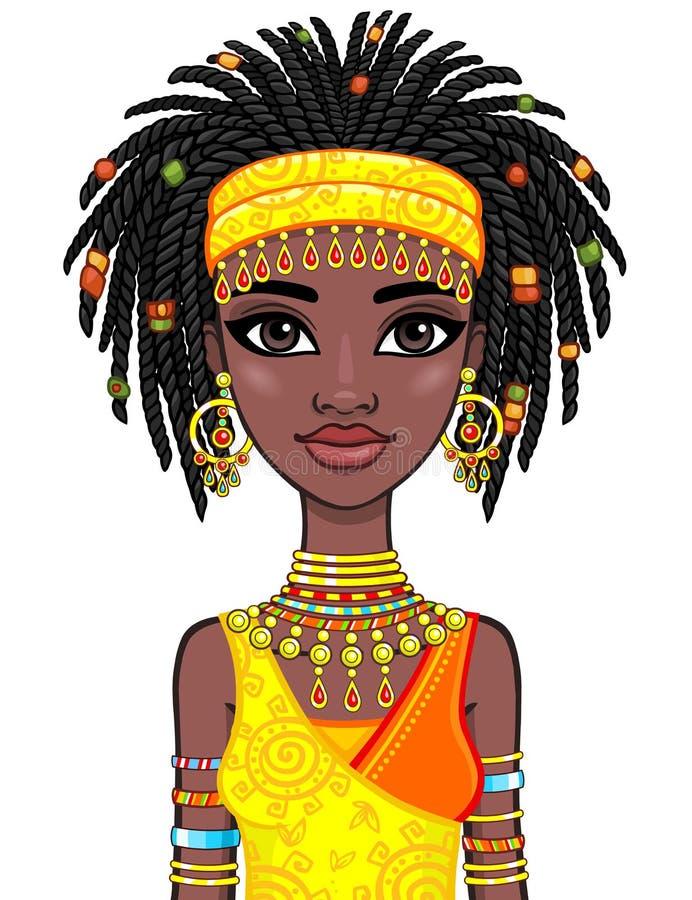 Retrato de la animación de la muchacha africana atractiva Ropa étnica brillante libre illustration