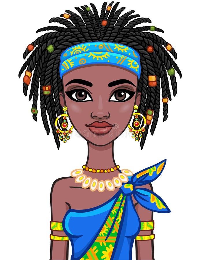 Retrato de la animación de la muchacha africana atractiva Ropa étnica brillante ilustración del vector