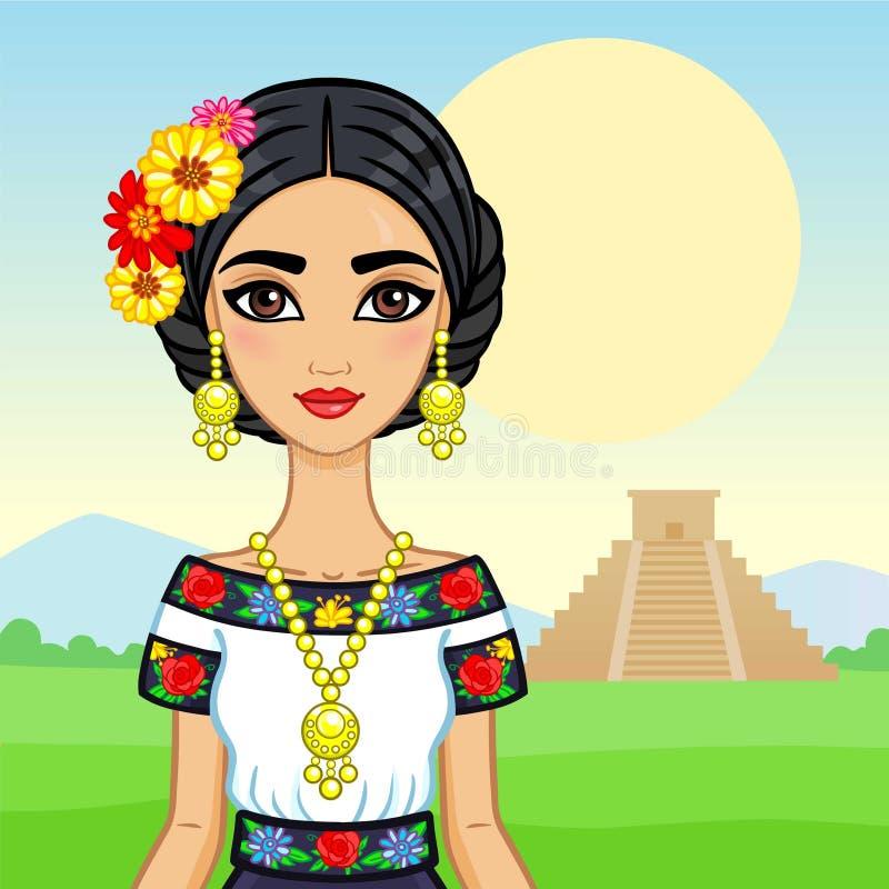 Retrato de la animación de la muchacha mexicana joven en ropa antigua stock de ilustración