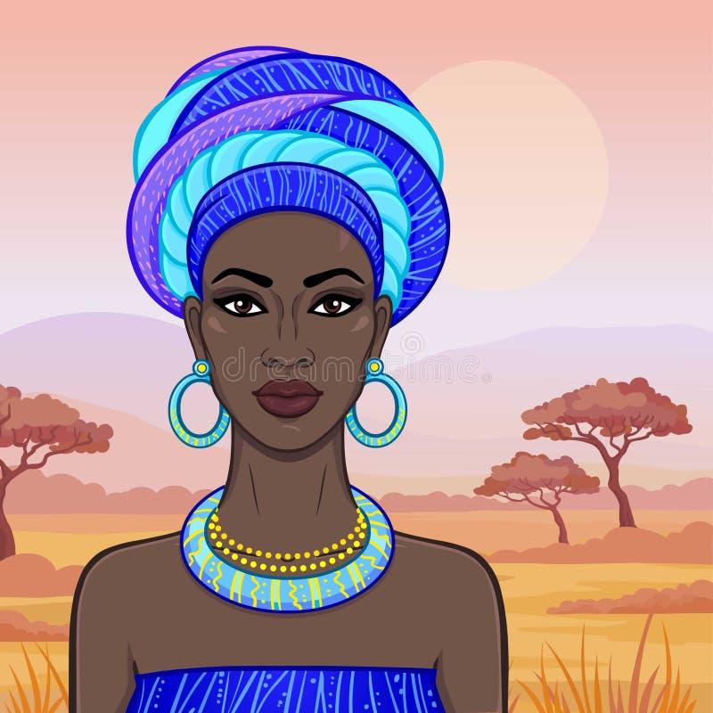 Retrato de la animación de la mujer africana hermosa en un turbante Princesa de la sabana, el Amazonas, nómada ilustración del vector