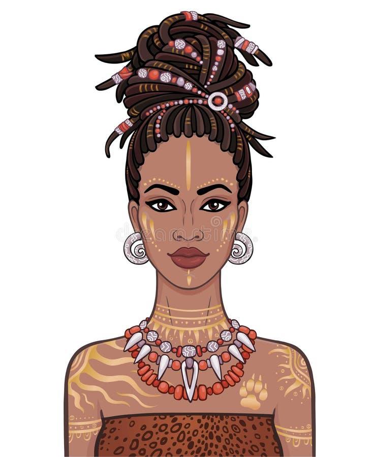Retrato de la animación de la mujer africana hermosa joven en dreadlocks ilustración del vector